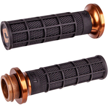 ODI Hart Luck Full Waffle Lock-On Grips for Harley Dual Cable - Black/Bronze