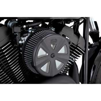 Vance & Hines Black Air Cleaner Cover For VO2 Naked & Round Air Cleaners - Skullcap Crown
