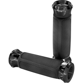 Performance Machine Overdrive Grips for Harley Dual Cable - Black