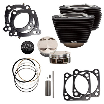 """S&S 131"""" Stroker Cylinder and Piston Kit with Black Fins for Harley M8"""