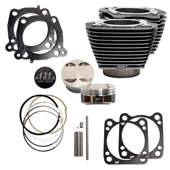 """S&S 131"""" Stroker Cylinder and Piston Kit with Black Granite for Harley M8"""