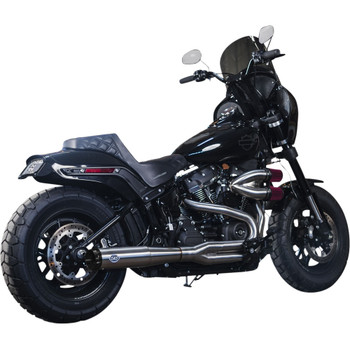 S&S SuperStreet 2-1 Stainless w/ Black Caps for 2018-2020 Harley Softail Models
