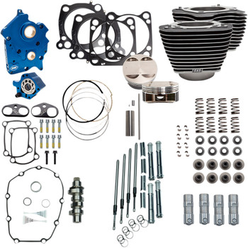 """S&S 128"""" Power Pack Kit Chain Drive Oil Cooled for 114""""/117"""" Harley M8 - Highlighted Fins & Chrome Pushrod Tubes"""