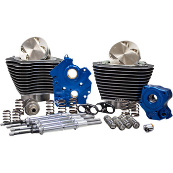 """S&S 124"""" Power Package Kit Chain Drive Oil Cooled for 107"""" Harley M8 - Highlighted Fins & Chrome Pushrod Tubes"""