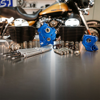 """S&S 128"""" Power Pack Kit Chain Drive Oil Cooled for 114""""/117"""" Harley M8 - Non-Highlighted Fins & Chrome Pushrod Tubes"""