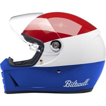 Biltwell Lane Splitter Helmet - Podium Gloss Red/ White/ Blue