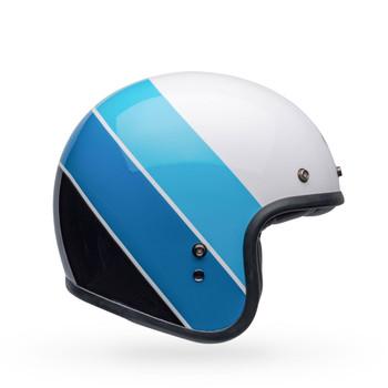 Bell Custom 500 Helmet - Riff Gloss White/Blue