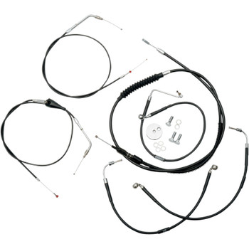 "LA Choppers Black Vinyl/Stainless  12""-14"" Cable Kit for 1996-2007 Harley"