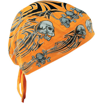 Zan Headgear Orange Tribal Skull Flydanna Headwrap