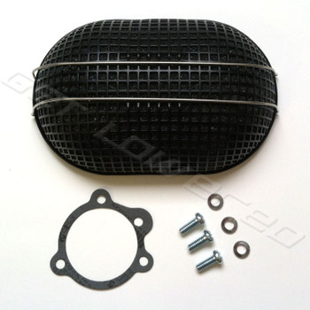 V-Twin Mfg. Black Oval Turbo Mesh Air Cleaner for Bendix-Keihin Carbs