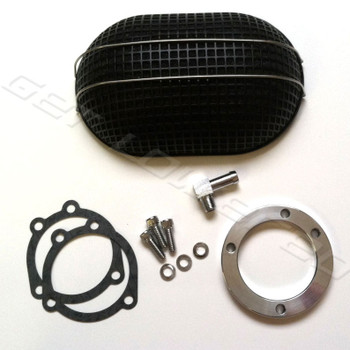V-Twin Mfg. Black Oval Mesh Air Cleaner for CV Carbs