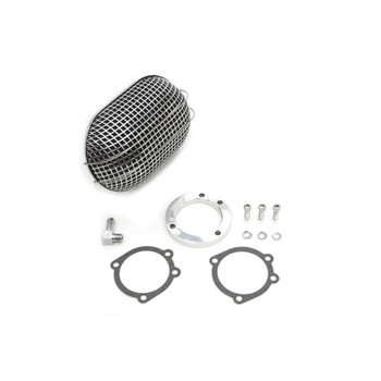 V-Twin Mfg. Chrome Oval Mesh Air Cleaner for CV Carbs