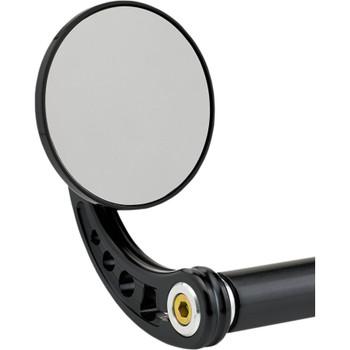 """Joker Machine 3-1/4"""" Round Black Bar End Mirror"""