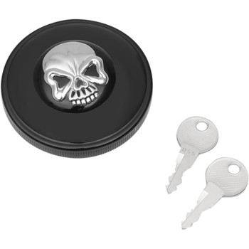 Drag Specialties Screw-In Locking Skull Gas Caps for Harley