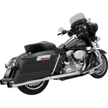 Bassani +P Bagger Stepped True-Duals Exhaust System with Power Curve and Megaphone Mufflers for 1995-2008 Harley Touring