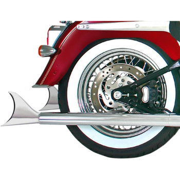 """Chrome 2-1/4"""" Longtail Exhaust Mufflers for Harley Softails w/ True Dual Crossover Headers"""