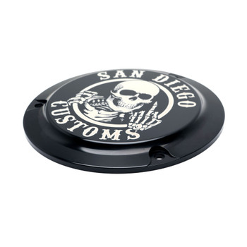 San Diego Customs Ripper Derby Cover for Harley Evo - Gloss Black