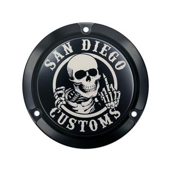 San Diego Customs Ripper Derby Cover for Harley Evo - Gloss Black