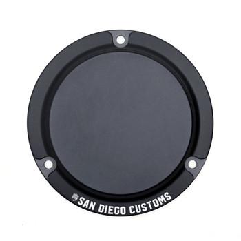 San Diego Customs Logo Derby Cover for Harley Evo - Black Stealth