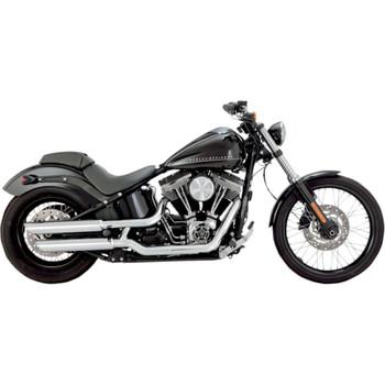 "Vance & Hines 3"" Round Twin Slash Slip-On Mufflers for 2007-2016 Harley Softail"