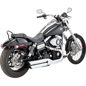 "Vance & Hines 3"" Round Twin Slash Slip-On Chrome Mufflers for 1991-2016 Harley Dyna"