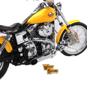 V-Twin Chrome Lake Pipe 2-Into-1 Header Exhaust for Harley