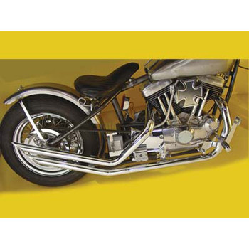 "Paughco 1-3/4"" Upsweep Slash Exhaust for 1957-1985 Rigid Harley Ironhead Sportster - Chrome"