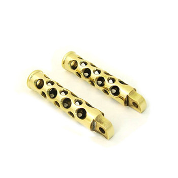 V-Twin Brass Swiss Cheese Foot Pegs for Harley