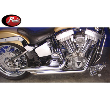 "V-Twin Chrome 2-1/4"" Monster Drag Pipes Side Slash Exhaust for 1986-2006 Harley Softail"