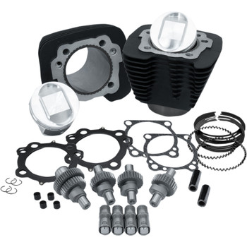 S&S Hooligan Kit 1200 to 1250 Big Bore for 2000-2018 Harley Sportster - Wrinkle Black