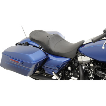 Drag Specialties Mild Stitch Low Profile Touring Seat with Driver Backrest Provision for 2008-2017 Harley Touring