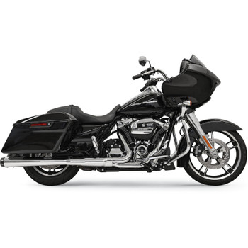 """Bassani 4"""" Megaphone Mufflers for 2017 Harley Touring - Chrome with Black End Caps"""