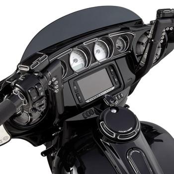Arlen Ness Beveled Inner Fairing Gauge Trim for 2014-2017 Harley Touring - Black