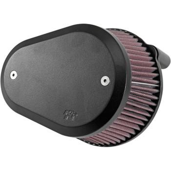 K&N Street Metal Flare Large Capacity Air Cleaner System for Harley - Black