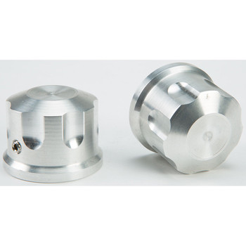 Rooke Customs Front Axle Nut Covers for Harley - Raw