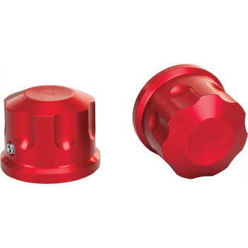 Rooke Customs Front Axle Nut Covers for Harley - Red