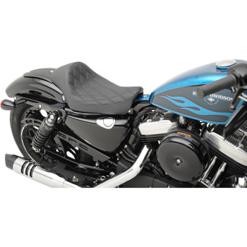 Drag Specialties Cafe Style Solo Front Seat for 2010-2020 Harley Sportster - Double Diamond Stitch
