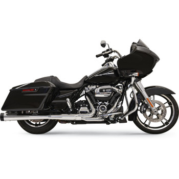 """Bassani 4"""" DNT Megaphone Mufflers for 2017 Harley Touring - Chrome with Black End Caps"""