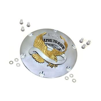 V-Twin Gold Eagle Spirit Derby Cover for 2004-2017 Harley Sportster