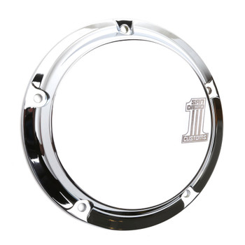 San Diego Customs Number 1 Derby Cover for Harley Twin Cam - Chrome