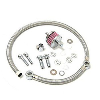 Drag Specialties Braided Hose Crankcase Breather Kit for 1993-2017 Harley Big Twin