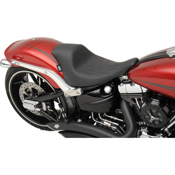 Drag Specialties Solo Seat for 2013-2017 Harley Softail Breakout - Flame Stitch