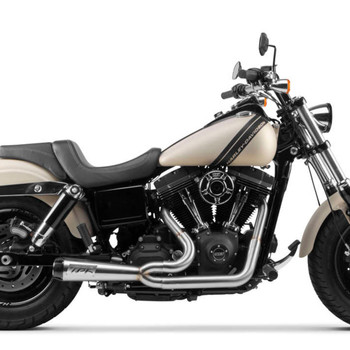 Two Brothers Racing 2-Into-1 Comp-S Exhaust for 2006-2017 Harley Dyna - Stainless with Carbon Fiber Tip