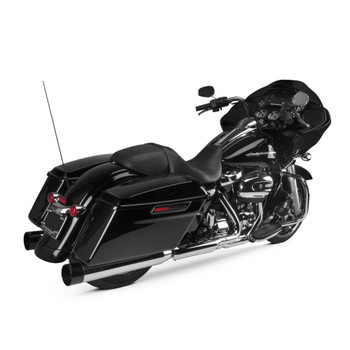 Two Brothers Racing Dual Slip-Ons Exhaust Mufflers for 2017 Harley Touring - Chrome with Black End Caps