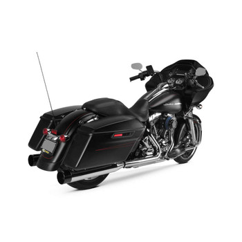 Two Brothers Racing Dual Slip-Ons Exhaust Mufflers for 1995-2016 Harley Touring - Chrome with Black End Caps