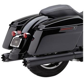 "Cobra 4"" Slip-On Exhaust Mufflers for 2017 Harley Touring - Black w/ Dual Cut Machined Tip"
