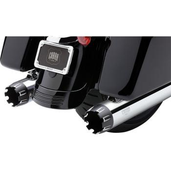 "Cobra 4"" Slip-On Exhaust Mufflers for 1999-2016 Harley Touring - Chrome w/ Dual Cut Machined Tip"