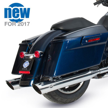 "S&S 4"" Slash Cut Slip-On Exhaust Mufflers for 1995-2016 Harley Touring - Chrome"