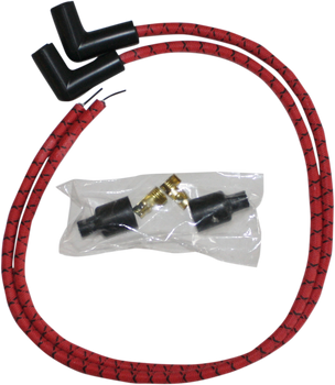 Sumax 8mm Universal Spark Plug Wire Kit for Harley - Red with Black Tracer