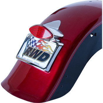 Russ Wernimont LED Run/Turn/Brake Tail Light with License Plate Frame for Harley - Chrome